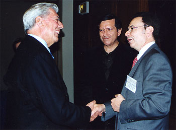 Mario Vargas Llosa and Provost Herman A. Berliner