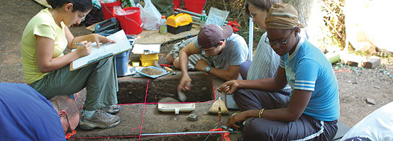 Archaeology students