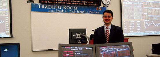 Dr. Karagozoglu in the Zarb School Trading Room