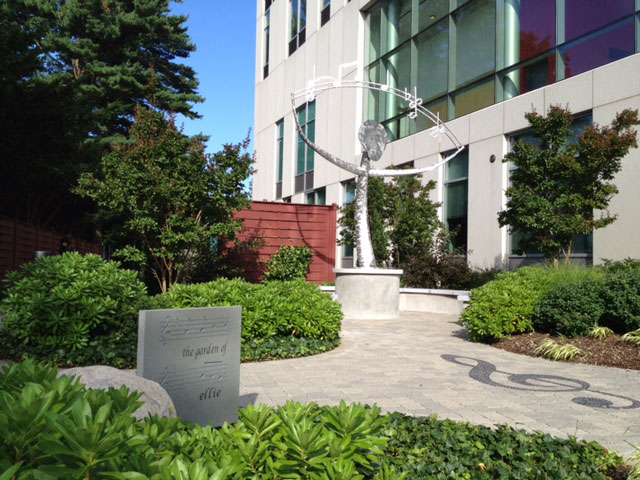 "The memorial ""Garden of Ellie,"" located on the southeast corner of the New Academic Building.  Sculpture by Peter Homestead."