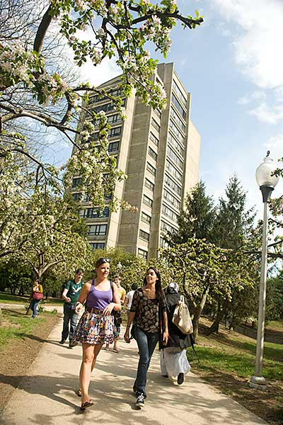 Tower, students