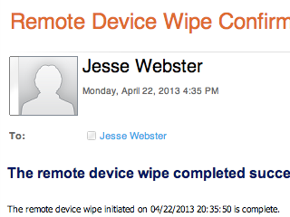 Confirmation of remote wipe.