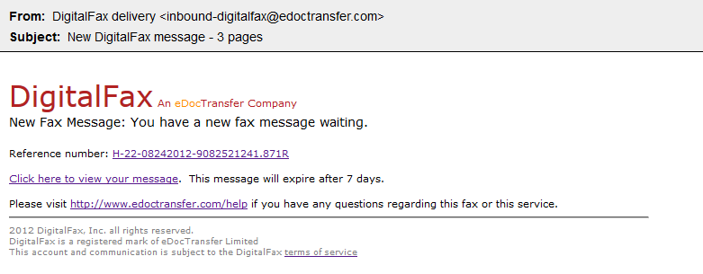 example of a fax message