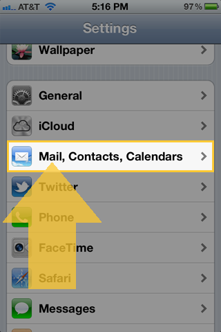 iOS settings app with Mail, Contacts, Calendars selected