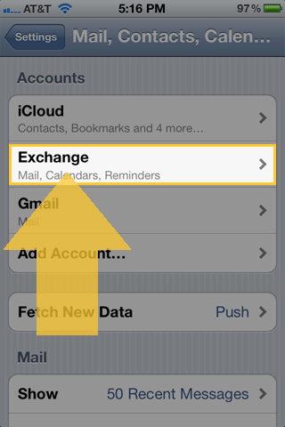 iOS Mail, Contacts, Calendars pane with Exchange account selected