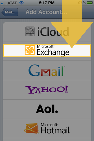 Selecting Microsoft Exchange from Add Accounts