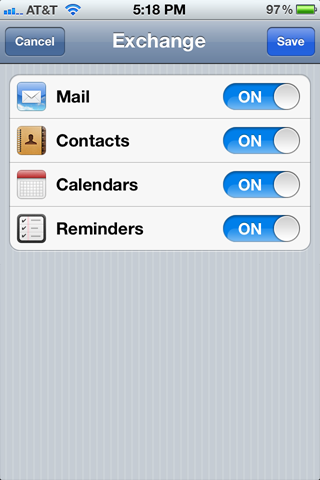 Back at the Mail, Contacts, Calendars screen