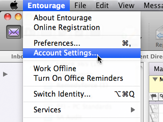 Entourage window with Entourage menu and Account Preferences item selected