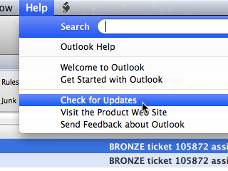 Outlook Help menu, with Check for Updates selected