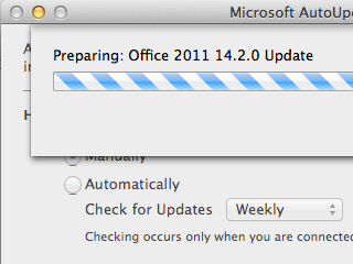 Microsoft AutoUpdater with preparing update message