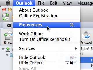 Outlook window with Outlook menu and Preferences item selected