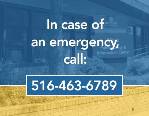 In case of an emergency, call 516-463-6789