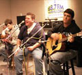 A local band playing live at WRHU.