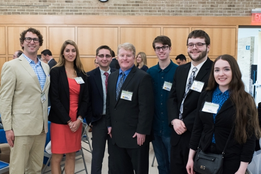 Ethan Bearman with WRHU Program Director (student) Juliana Spano, WTOP Reporter Dennis Foley, WRHU Ops Mgr John Mullen, WRHU air talent (student) Bradley Clarke, WRHU news anchor (student) Sean Bates, WRHU Music Director (student) Chelsea Nelson-Fernandez