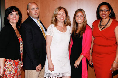 The 2011-12 doctoral graduates in Literacy Studies (l to r): Dr. Ceil Candreva, Ed.D., Dr. Phillip Cicione, Ed.D., Dr. Bonnie Granat, Ph.D., Dr. Erica Pecorale, Ed.D., and Dr. Nathalie Lilavois, Ed.D..  Not pictured, Dr. Aiko Miyatake, Ph.D..
