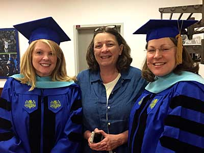 (l to r) After May Commencement, 2015, Dr. Susi Bostock, Dr. Jeanne Henry, and Dr. Louise Shaw.