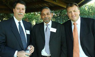 Dean Sodano; Vice Dean Anil  Mathur and Ben Vogt, senior director of development.