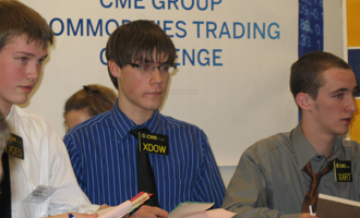 High school students at CME  Group Commodities Trading Challenge