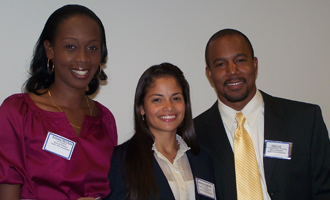 Zarb  graduate students Ayanna McClean; Samantha Sepulveda and Edward Cook