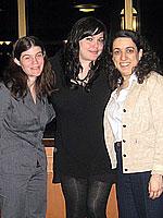 Mia Tyler center with Zarb M.B.A. students Christina Brandy and Nancy Schwartz