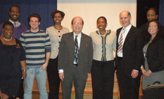 Zarb students with Chaundra Daniels, assistant director of the Career Center (far left); Luke Ng, Zarb adjunct associate professor (5th from left); Carla Harris and Fred Burke, executive director of the Career Center