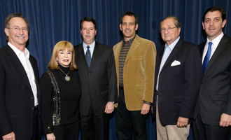(from left) Kenneth Brodlieb, Helene Fortunoff, Sal Sodano, Dave McQueary, Norman Goldberg and Alan Kelly, vice president for development and alumni relations