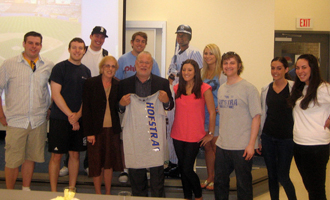Zarb Advertising Club students present t-Shirt to Michael Wach