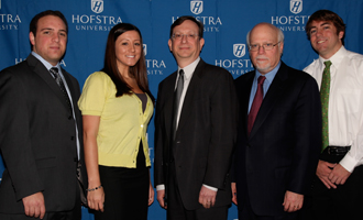 (from left) Joshua Mitgang (B.B.A. '10); Allison Calabrese (B.B.A. '10); Gary Perlin; Hofstra President Stuart Rabinowitz and Jonathan Monahan, Zarb student