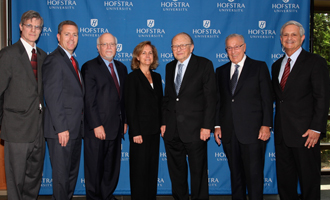 (from left) Alan Eidler, President and CEO Spiegel Associates, Mark Cuthbertson, Councilman, Town of Huntington, Stuart Rabinowitz, President, Hofstra University, Marilyn Monter, Chair, Hofstra Board of Trustees, Milton Cooper, Executive Chairman, Kimco Realty Corporation, Wilbur F. Breslin, President, Breslin Realty Development Corp. and Richard V. Guardino, Jr., Executive Dean, Wilbur F. Breslin Center for Real Estate Studies