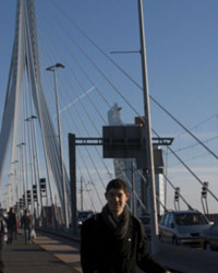 Zarb M.B.A. student Peter Nicolardi on the Erasmus Bridge