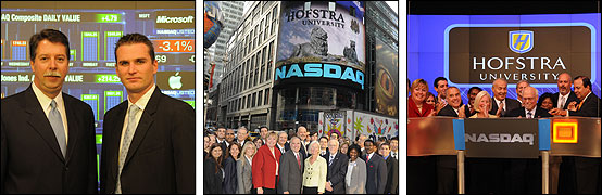 Dean Sodano with Chris Driscoll (M.B.A., December '08), The Hofstra contingincy in front of the NASDAQ tower in Times Square., Hofstra trustees, administrators, faculty and students join President Rabinowitz as he rings the opening bell.