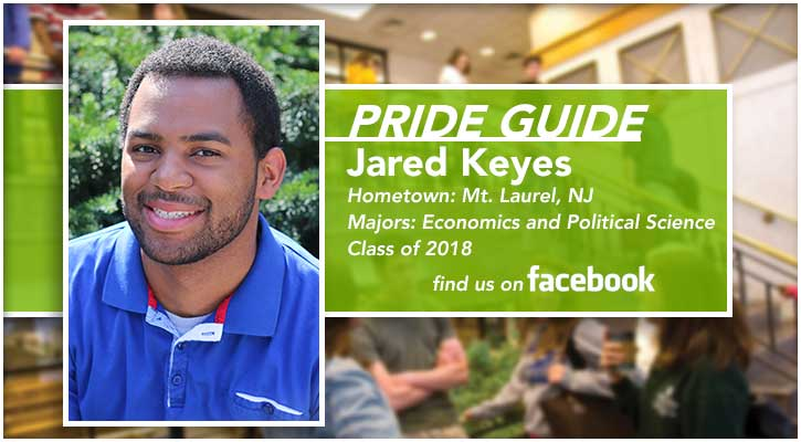 Pride Guide: Jared Keyes | Hometown: Mt. Laurel, NJ | Majors: Economics and Political Science | Class of 2018 | Find us on Facebook