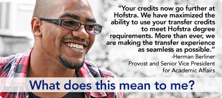 Your credits now go further at Hofstra. We have maximized the ability to use your transfer credits to meet Hofstra degree requirements. More than ever, we are making the transfer experience as seamless as possible. -Herman Berliner Provost and Senior Vice President for Academic Affairs