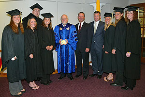 (L to R) Callie Osborne, Kelly Morris, Josh Harman (WRHU), Lisa Torres, President Stuart Rabinowitz, Head Coach Bill Edwards, Director of Athletics Jack Hayes, Adrienne Clark, Stefanie Kenney, Hailey Clark.