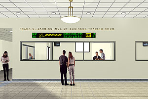 An artist's rendering of Hofstra's new trading room, which opened in time for the fall 2005 semester.