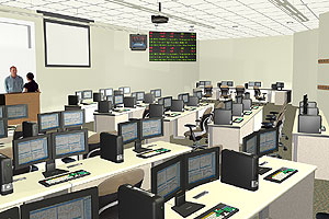 Inside the Financial Technology Center's trading floor