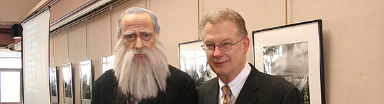 Dean of Library and Information Services Daniel R. Rubey and Charles Darwin (a.k.a. Professor J Bret Bennington)
