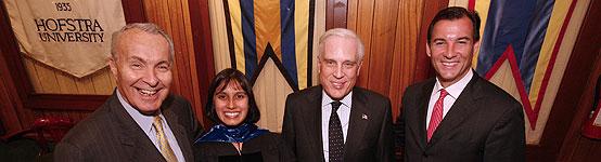 (L to r) David S. Mack '67, Kalikow Chair in Presidential Studies Meena Bose, Peter S. Kalikow '65 and Nassau County Executive Thomas Suozzi.