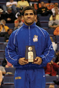 Jon Masa from the All-America stand at the NCAA Wrestling Championships.