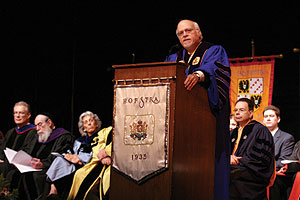 Hofstra President Stuart Rabinowitz welcomed freshmen and transfer students at the third annual New Student Convocation held the first day of classes, September 6.