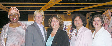 Pictured left to right are EAP clients Madona Cole Lacy, Cris Young, Director of the Hofstra EAP and Assistant Dean Judith Tyne, Triana Maccarino and Lisa Kleinhandler at the Gala