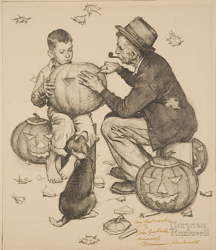 Norman Rockwell, Study for Old Man and Boy: Halloween