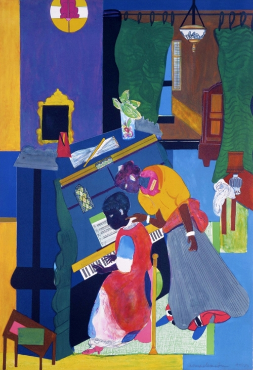Romare Bearden (American, 1911-1988), Homage to Mary Lou (The Piano Lesson), 1984