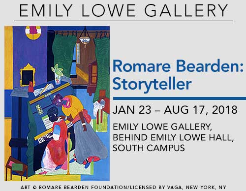 Romare Bearden: Storyteller | January 23 – August 17, 2018 | Emily Lowe Gallery, behind Emily Lowe Hall, South Campus