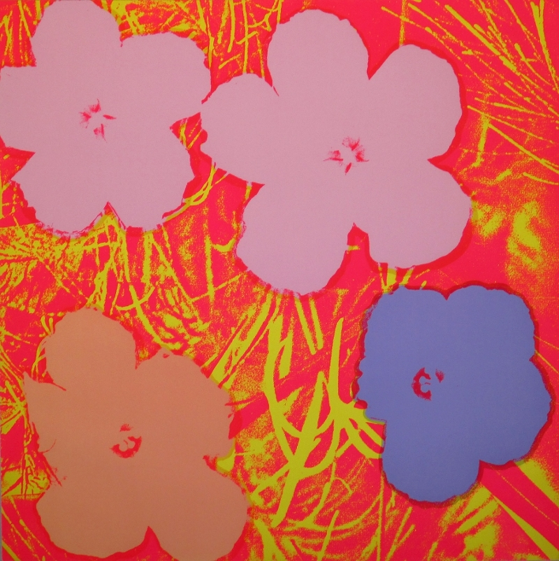 Andy Warhol (American, 1928-1987), Flowers, 1970, screenprint on paper, extra, out of the edition. Designated for research and education purposes only. 36 x 36 in., Hofstra University Museum Collections, gift of The Andy Warhol Foundation for the Visual Arts Inc., HU2013.14 © The Andy Warhol Foundation for the Visual Arts Inc.