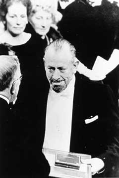 Steinbeck receiving Nobel Prize