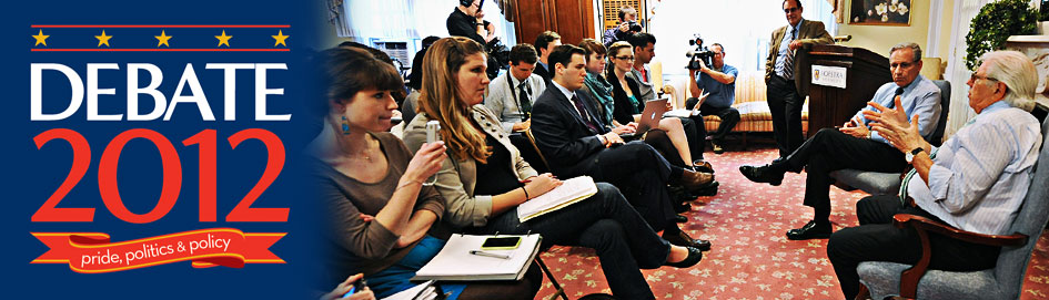Students with Woodward and Bernstein - Debate 2012