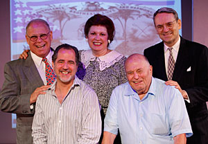Rick Grossman as Eddie Jacobson, Lydia Gladstone as Bluma Jacobson, Dan Hicks as Harry S. Truman, director Bob Spiotto and playwright Mark Weston. Photo by Carol Rosegg.