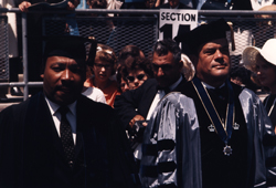 Dr. Martin Luther King, Jr. alongside Hofstra President Dr. Clifford Lord at Graduation Ceremony. Hofstra University, 1965