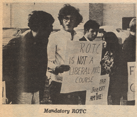 Hofstra students protest mandatory ROTC on campus. Hofstra University. The Hofstra Chronicle, 1967